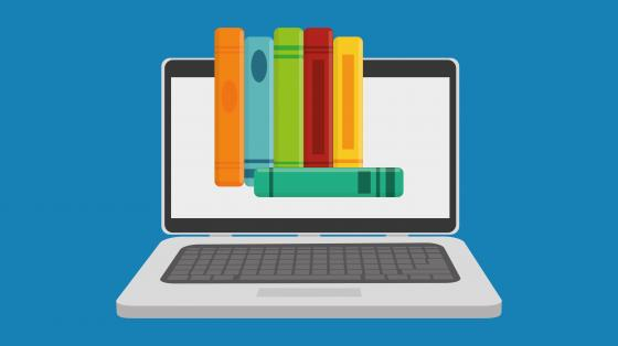 eLearning graphic - computer with books